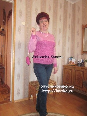 Джемпер спицами - работа Александры