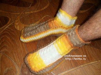 Мужские носки спицами- работа Ольги