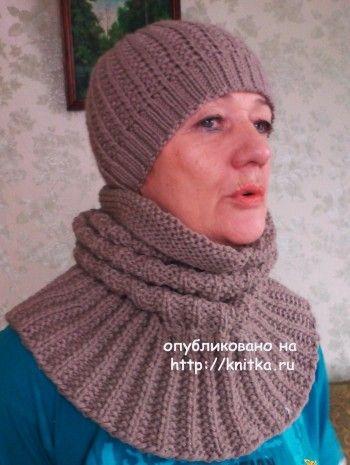 Шарф и шапочка спицами - работы Валентины