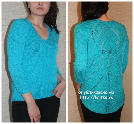 Женский пуловер спицами. Вязание спицами.