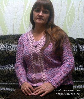 Женский жакет спицами - работа Натальи Самойловой. Вязание спицами.