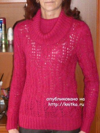 Свитер женский спицами. Работа Марины Ефименко. Вязание спицами.