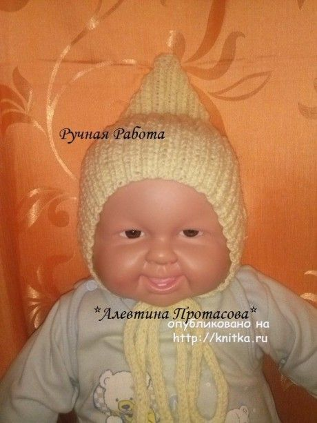 Шапочка эльф спицами для малыша - работа Алевтины. Вязание спицами.