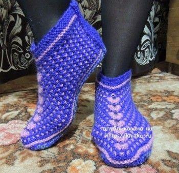 тапочки носки спицами