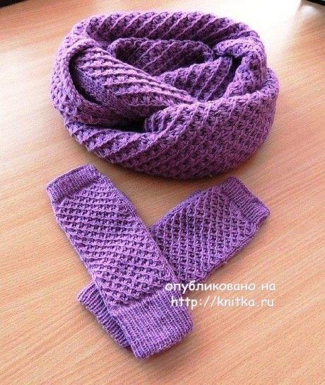 шарф - снуд спицами с узором звездочки