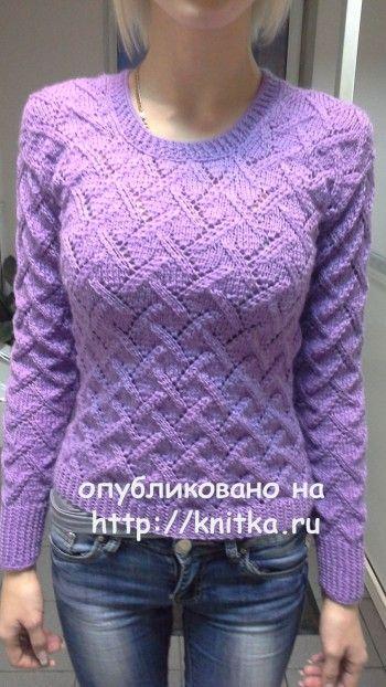 Пуловер спицами - работа Ольги. Вязание спицами. 0n
