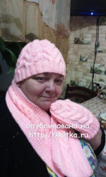 шапка, шарф, варежки спицами