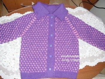 Детская кофта спицами - работа Ольги. Вязание спицами.