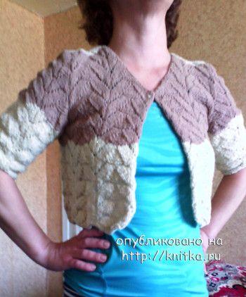 Женский жакет спицами - работа Натальи. Вязание спицами.