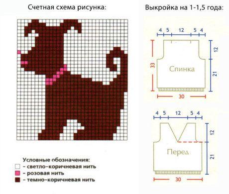 Схема рисунка и выкройка для жилета спицами