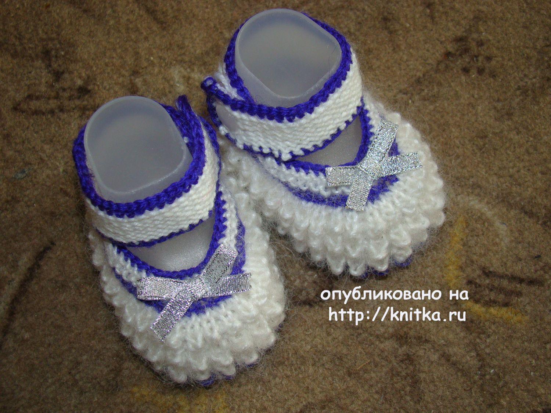 Вязание подошвы спицами для пинетки