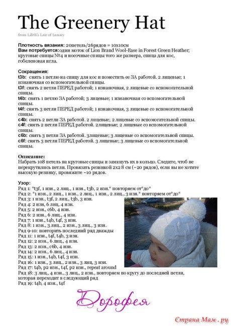 описание шапочки спицами