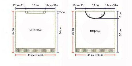 Выкройка и схема жилета:
