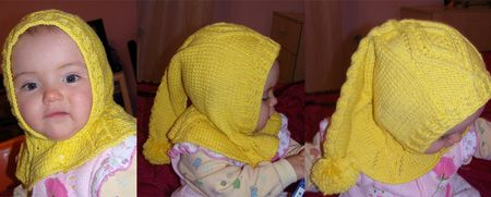 Желтая шапочка - шлем спицами