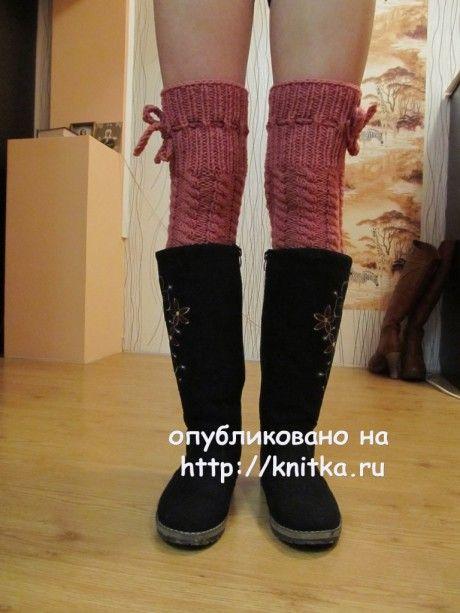 Вязаные спицами гетры - ботфорты - работа Марии Гендько вязание и схемы вязания