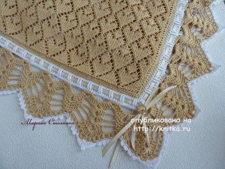Вязаный спицами плед - работа Марины вязание и схемы вязания