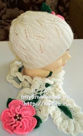 Вязаный комплект: шапочка и шарф. Вязание спицами.