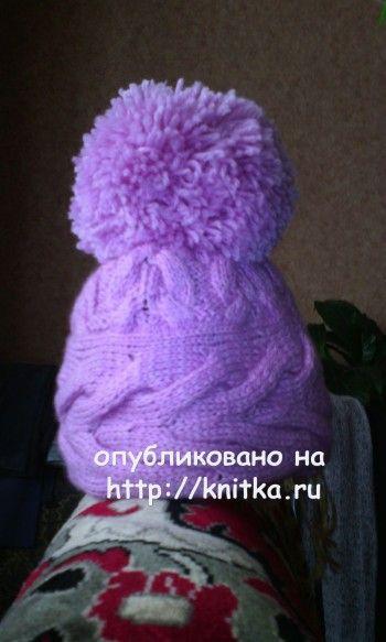 Вязаные спицами шапочки - работы Натальи