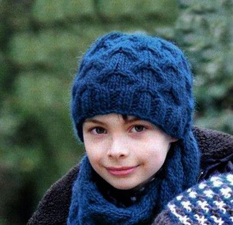 Шарф и шапка для мальчика спицами