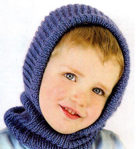Синяя шапочка - шлем для мальчика спицами