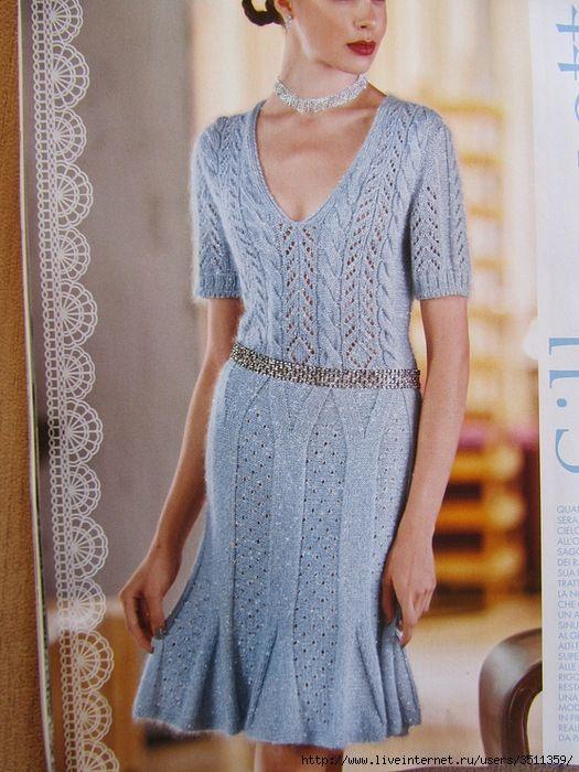 Ажурные платья спицами модели и схемы