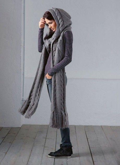 шарф капюшон спицами
