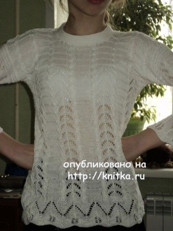 Ажурная кофточка спицами - работа Ольги вязание и схемы вязания