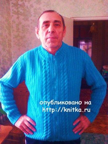 Мужской джемпер спицами - работа Валентины вязание и схемы вязания