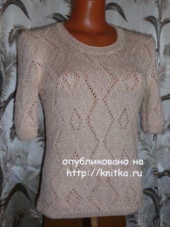 Вязаная спицами кофточка - работа Марины вязание и схемы вязания