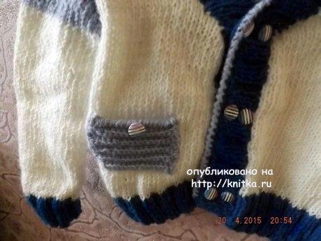 Вязаный спицами жакет для мальчика - работа Оксаны вязание и схемы вязания