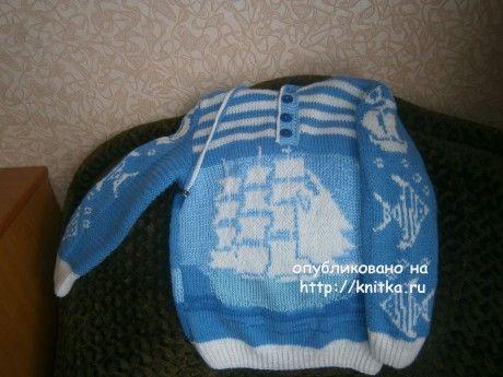 Вязаный свитер для мальчика - работа Елены. Вязание спицами.