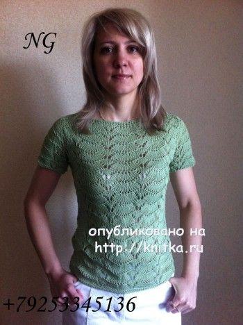 Ажурная блузка спицами - работа NatalyaG. вязание и схемы вязания