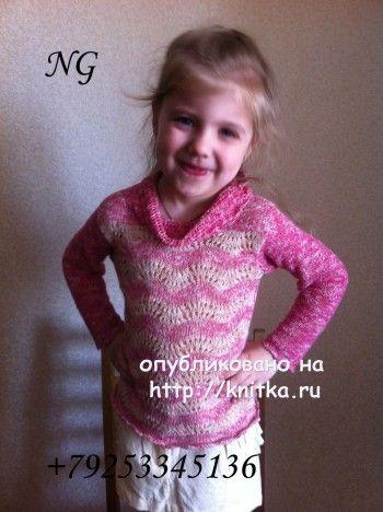 Детский пуловер спицами - работа NatalyaG.. Вязание спицами.