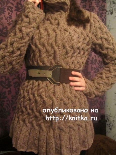 Кофта с узором из кос - работа Людмилы вязание и схемы вязания