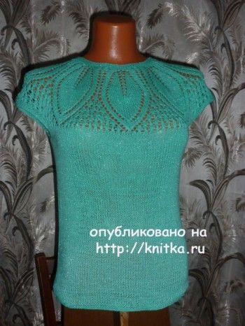 Летняя кофточка спицами - работа Марины вязание и схемы вязания
