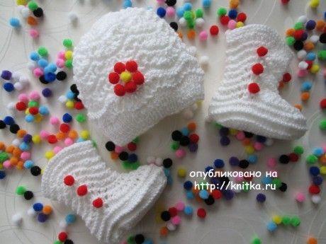 Пинетки спицами - работа Марии Гнедько вязание и схемы вязания