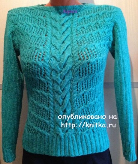 Пуловер женский спицами - работа Ларисы Величко. вязание и схемы вязания