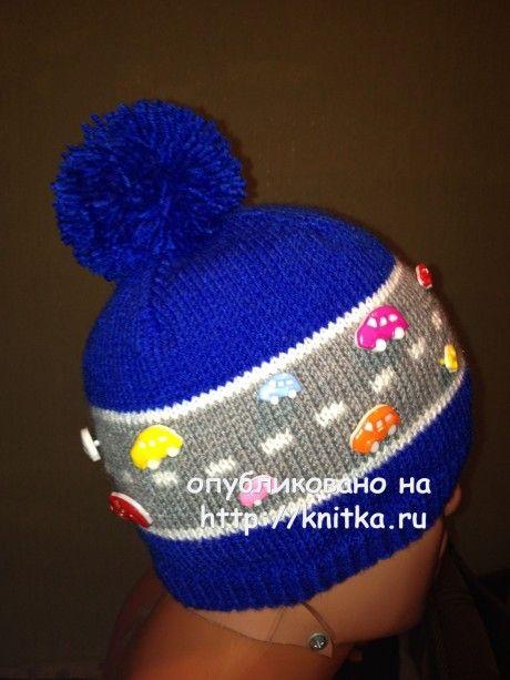 Шапочка для мальчика спицами - работа Ларисы Величко вязание и схемы вязания