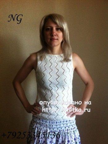 Вязаный спицами топ - работа NatalyaG. вязание и схемы вязания