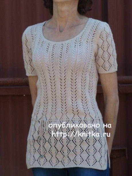 Ажурная туника спицами - работа Марины Ефимовой вязание и схемы вязания