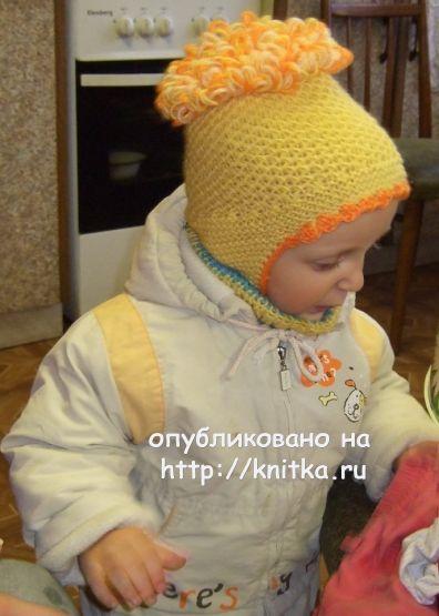Детская шапочка спицами - работа Марии Казановой вязание и схемы вязания