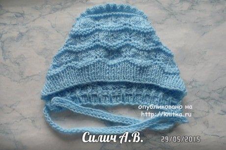 Детский чепчик спицами - работа Анастасии вязание и схемы вязания