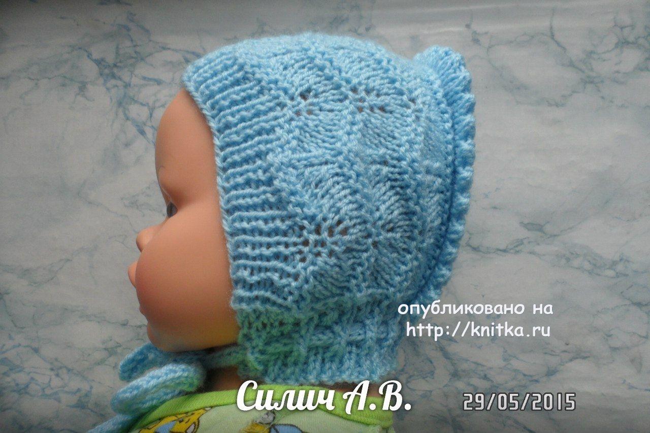 детский чепчик спицами работа анастасии силич вязание для детей