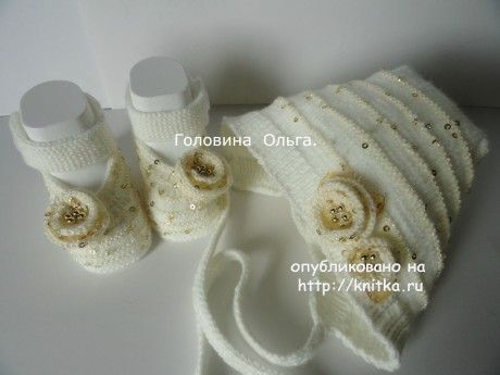 Шапочка и пинетки спицами - работы Головиной Ольги. Вязание спицами.