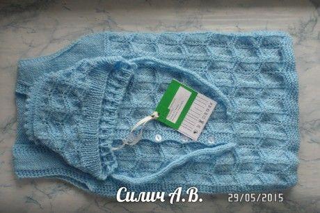 Конверт для малыша - работа Анастасии Силич. Вязание спицами.