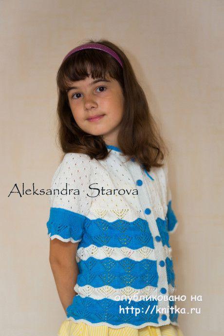 Кофточка для девочки спицами - работа Александры Старовой. Вязание спицами.