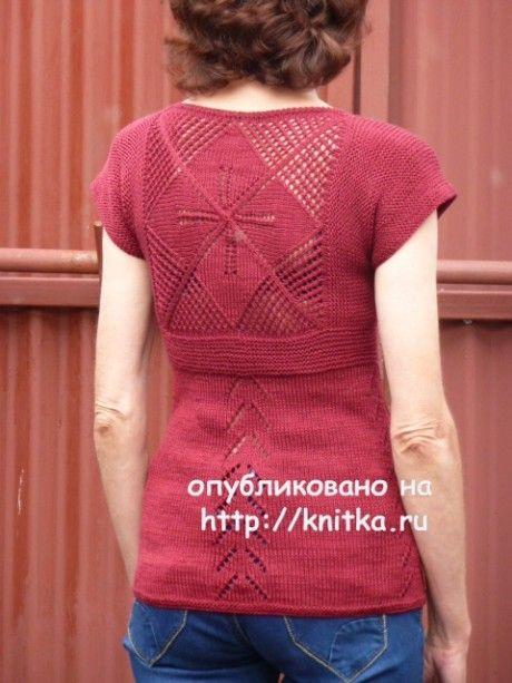 Вязаная спицами кофточка с цветком - работа Марины Ефименко вязание и схемы вязания