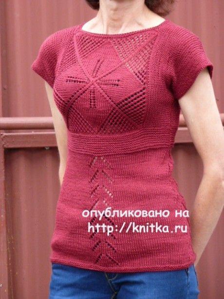 Вязаная спицами кофточка с цветком - работа Марины Ефименко. Вязание спицами.