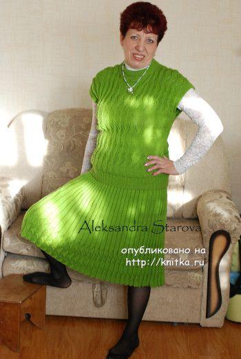 Женский костюм связанный спицами