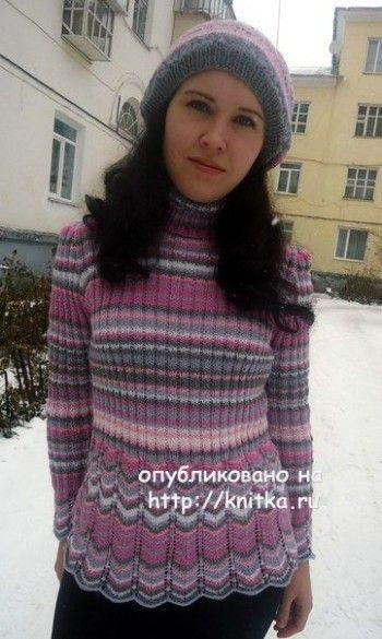 Вязаный комплект: пуловер и берет